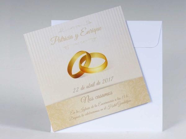 Invitación de Boda romántica anillos