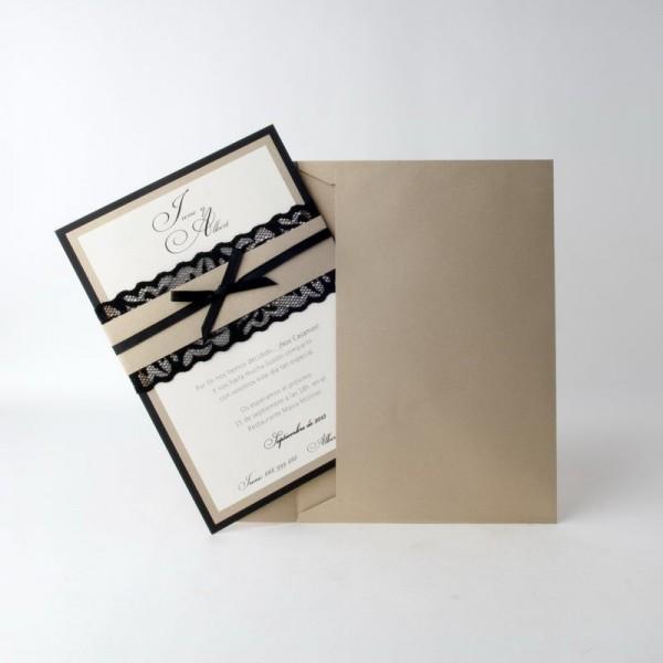 Invitación de Boda vintage lacito negro