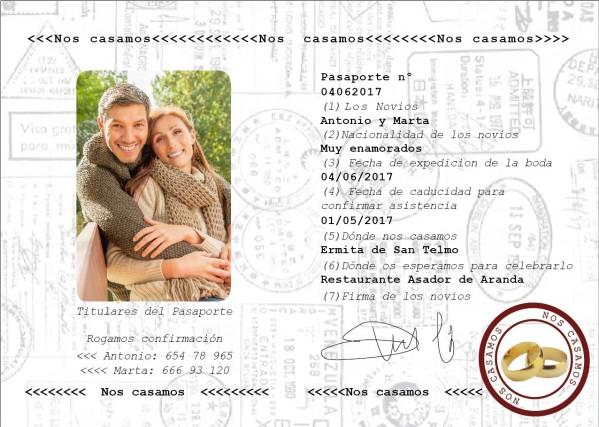 Invitación de Boda creativa pasaporte