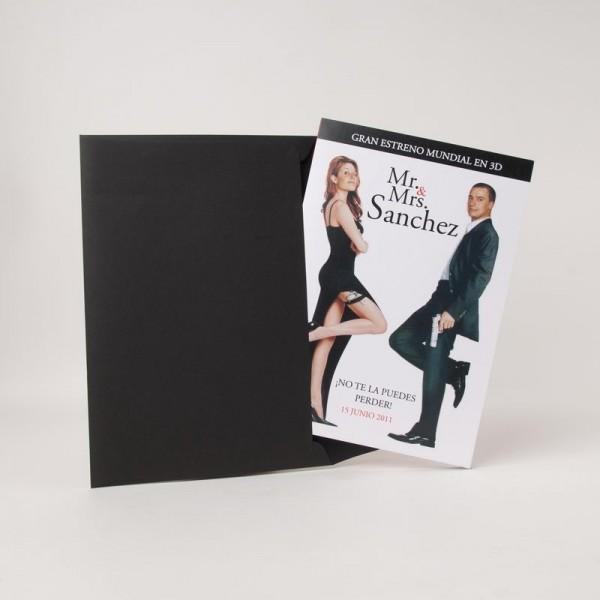 Invitación de Boda creativa portada cine Mr. y Ms.