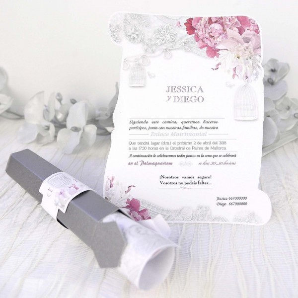 Invitación de Boda creativa pergamino con flores