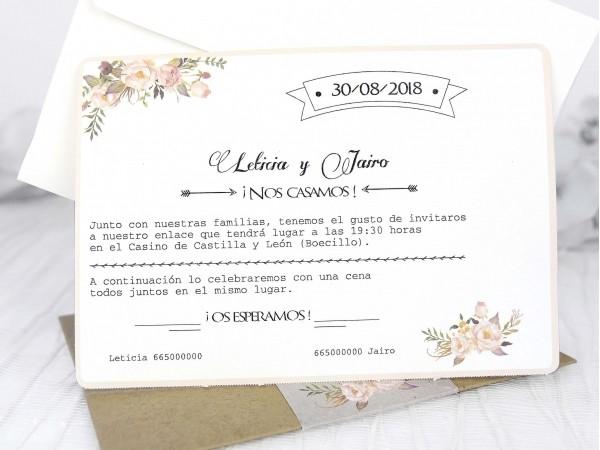 Invitación de Boda vintage Telegrama