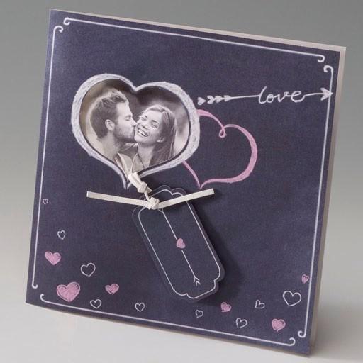Invitación Boda romántica foto en corazón