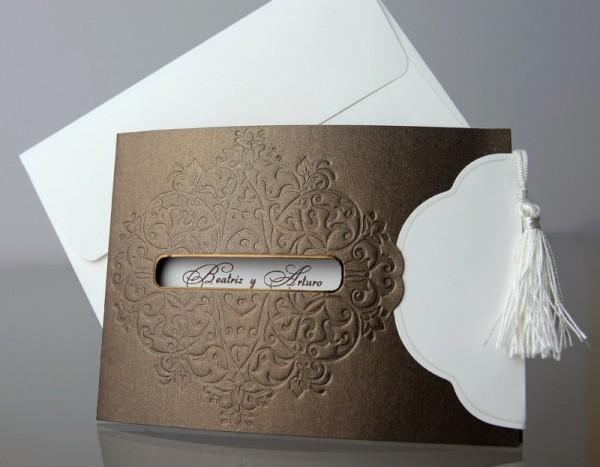 Invitación de Boda original borla blanca