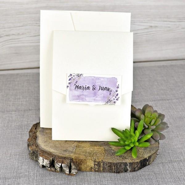 Invitación de Boda original flor lavanda