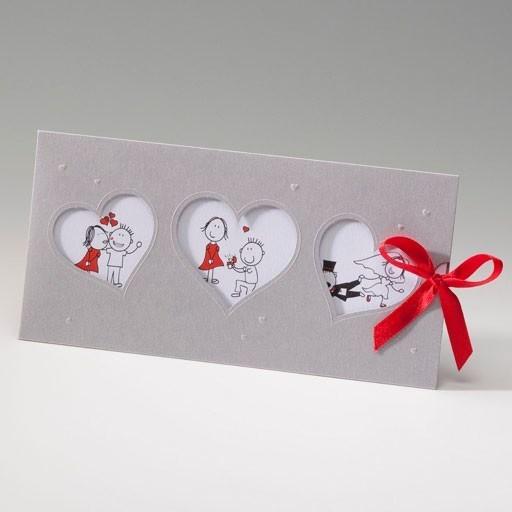 Invitación Boda romántica lazo rojo