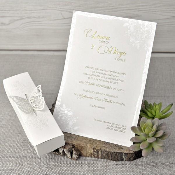 Invitación de Boda romántica caja mariposa