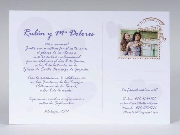 Invitación de Boda romántica postal