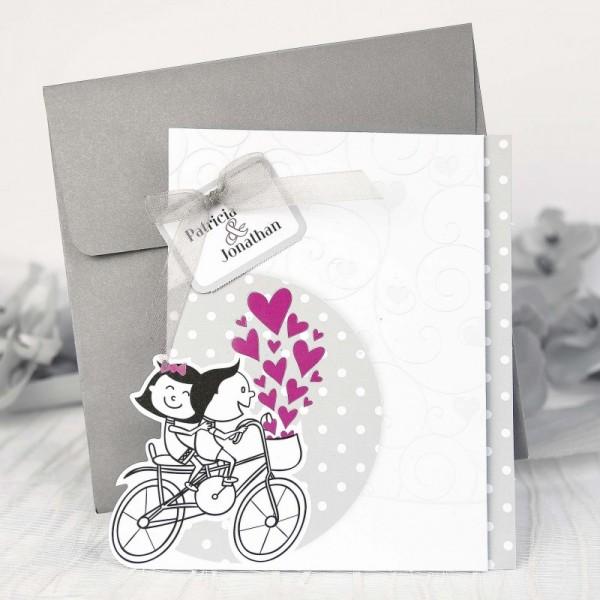 Invitación de Boda romántica bicicleta