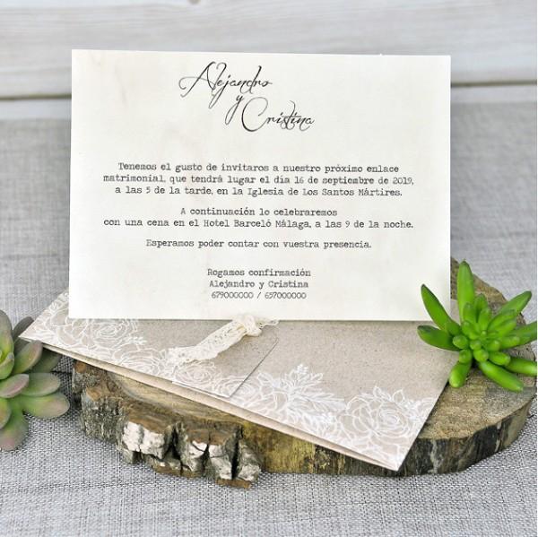 Invitación de Boda vintage cinta ganchillo