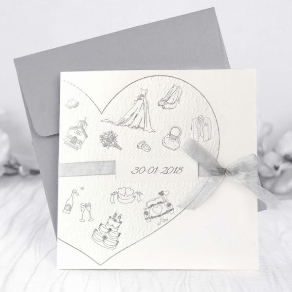 Invitación de Boda romántica corazón