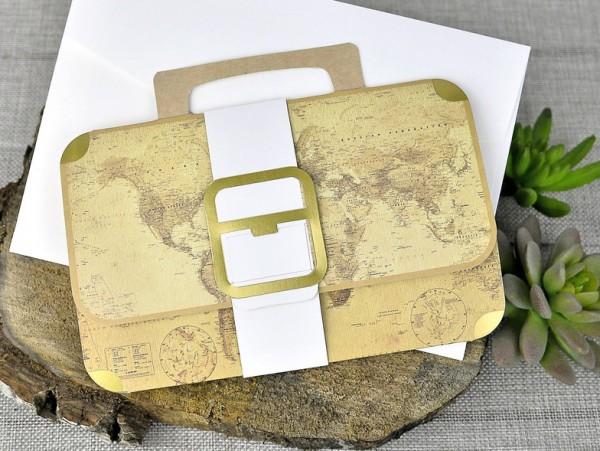 Invitación de Boda creativa maleta del mundo