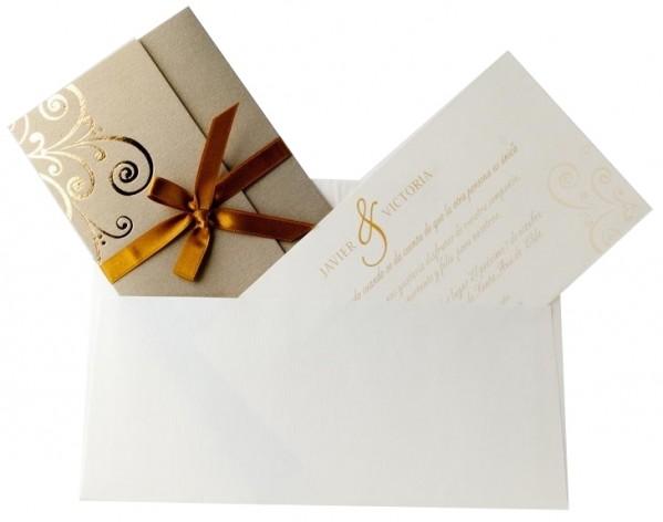 Invitación de Boda original dorado