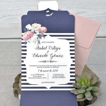 Invitación de Boda original lacito rosa