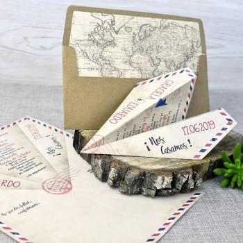 Invitación de Boda creativa avión