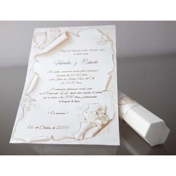 Invitación de Boda creativa pergamino blanco