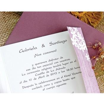 Invitación de Boda original rosa con flores