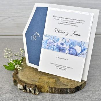 Invitación de Boda original tono azul