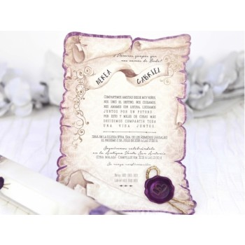 Invitación de Boda creativa pergamino lila