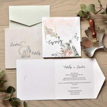 Invitación de Boda estampado floral